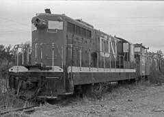 CN 802, NDJct, 8:90 (Jon Archibald) Tags: railroad abandoned film cn train 35mm newfoundland nikon diesel railway canadian junction notredame national locomotive railways gauge narrow relics cnr emd gmd 42inch lewisporte nf210 nf110