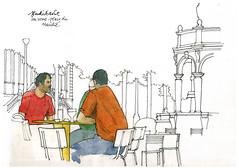 Liège, un verre place du Marché... (gerard michel) Tags: sketch belgium liège croquis
