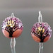 Earring Pair : Seashell Violet Tree