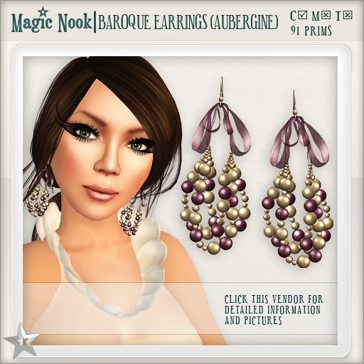 [MAGIC NOOK] Baroque Earrings (Aubergine)