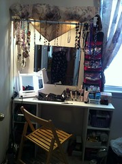 showing the big rearrango of my vanity area this week w/new mirror