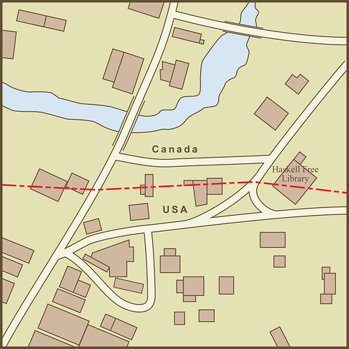 A Map of the Border Between the USA and Canada as it Passes Through the Town of Derby Line, Vermont by amproehl