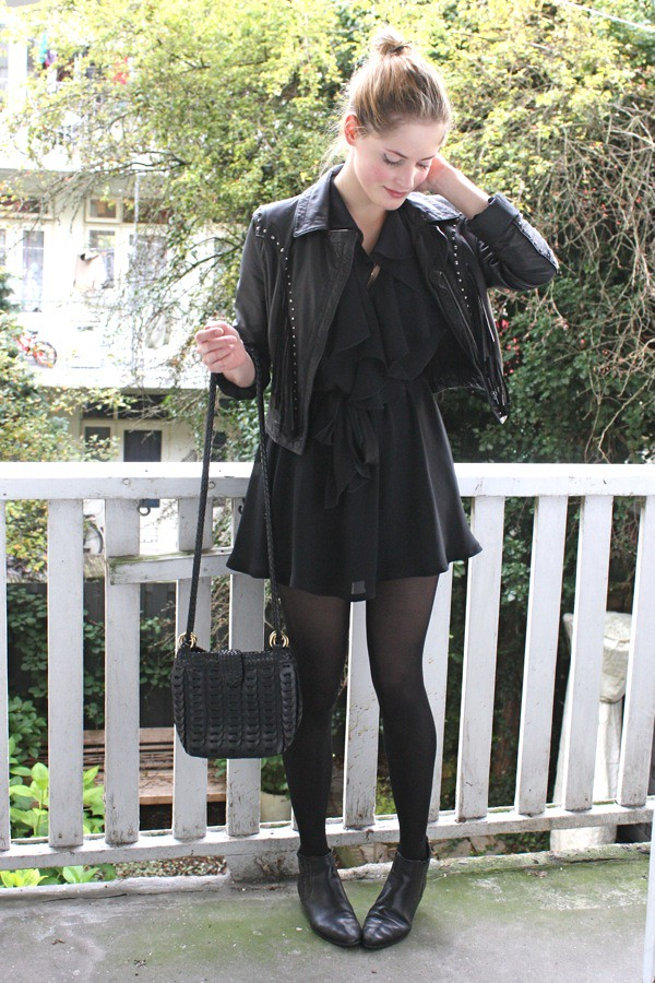 let's take a walk renee sturme fashionfillers black outfit dress leather jacket