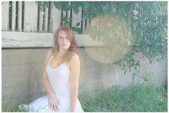 (ssstephie) Tags: selfportrait nature girl wall fence glare dress bokeh redhead bushes sunflare whitedress