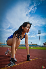 On your marks (Roy 2lips) Tags: blue cloud sexy sports model do track photoshoot stadium running fair super run it nike just shorts sabah mizuno sabahan