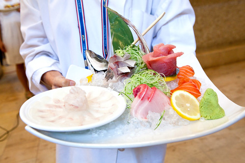 A special sashimi platter for an important food person from Chef Masaharu Morimoto