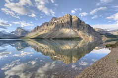 bow lake sunrise (Fluffy Mackerel) Tags: morning summer cloud mountain lake canada reflection beach water sunrise landscape dawn nationalpark bluesky alberta scree banff hdr banffnationalpark icefieldsparkway