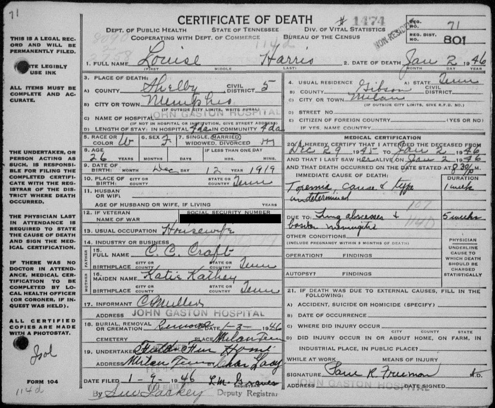 Louise Craft Death Certificate Handwritten