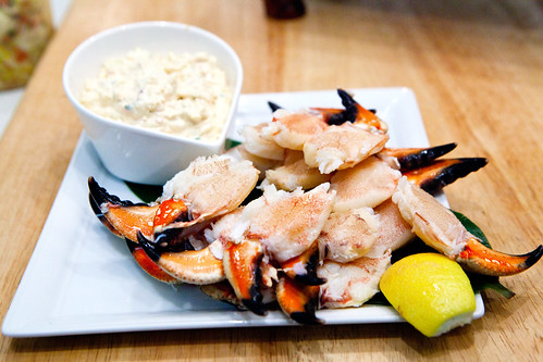 Stone crab claws with kimchi aioli