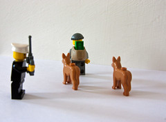 Dog Handler Calls for Back Up (CanonGirl101) Tags: set radio canon eos lego models police run rob criminal loot chase robbery officer handcuffs robber policevan tezz policedogs 450d 5dii tezz450d tezz5d2