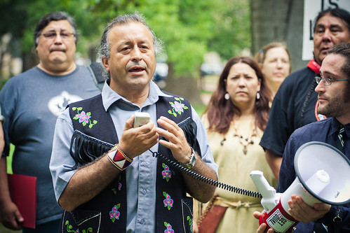 Bill Erasmus, Regional Chief, Assembly of First Nations, speaking outside White House. Photo credit: Josh Lopez.
