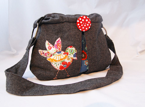 Handmade Shoulder Bag with Appliqued Bird and BIG Button Brooch by Once upon a time in the north