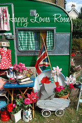 Happy's Vintage Caravan (HAPPY LOVES ROSIE) Tags: roses green rose vintage happy photoshoot retro caravan unionjack cathkidston dollspram leatherbooks happylovesrosie frenchenamel happyharris holivan caravanningmagazine