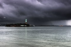 The Statue of Liberty, Hurricane Irene 2011 (mudpig) Tags: nyc newyorkcity light cloud ny newyork storm reflection rain statue ferry brooklyn liberty newjersey nikon jerseycity hurricane nj hudsonriver thunderstorm irene gothamist statueofliberty hdr governorsisland statenislandferry caribbeanprincess d300 newyorkharbor mudpig princesscruiseline stevekelley hurricaneirene stevenkelley
