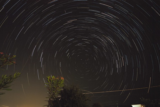 star trails near airport