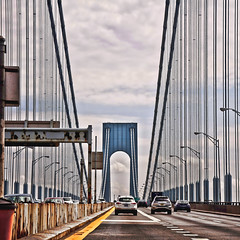 Verrazano (wesbs) Tags: road new york city nyc bridge cars brooklyn driving streetlights geometry statenisland verrazanobridge verrazanonarrowsbridge verrazano