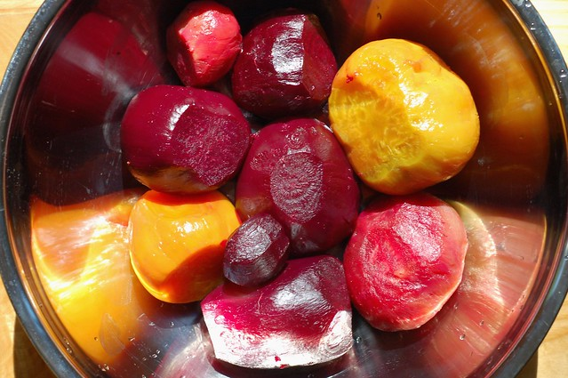 Roasted beets, peeled and ready to slice by Eve Fox, Garden of Eating blog, copyright 2011