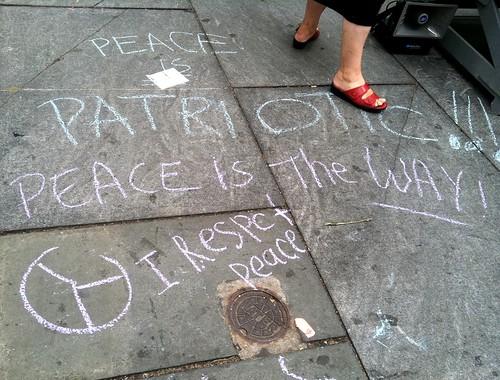 Passers-by wrote their feelings on the sidewalk