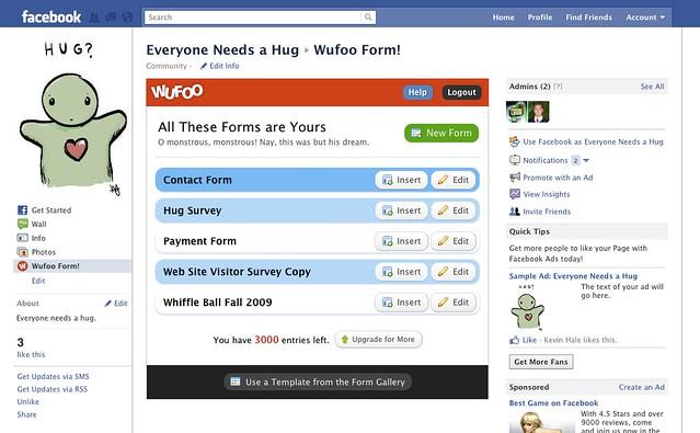 Forms view in Wufoo Facebook App