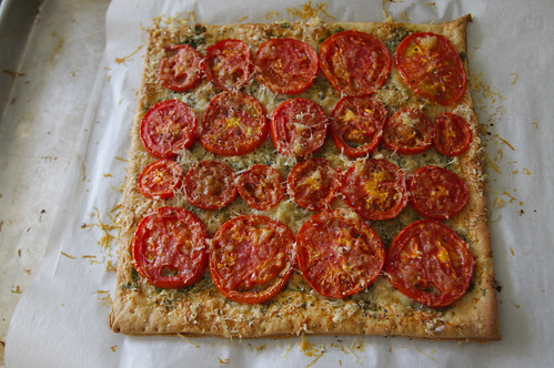 three cheese herb tomato tart