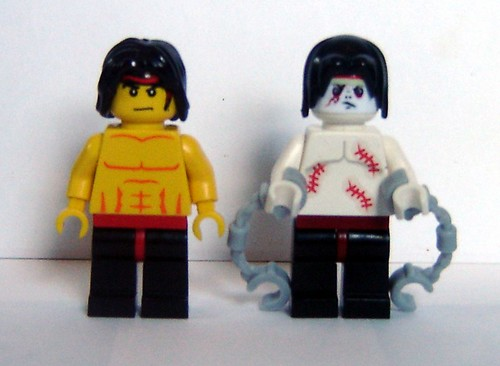 Custom minifig Regular Liu Kang and Zombie Liu Kang