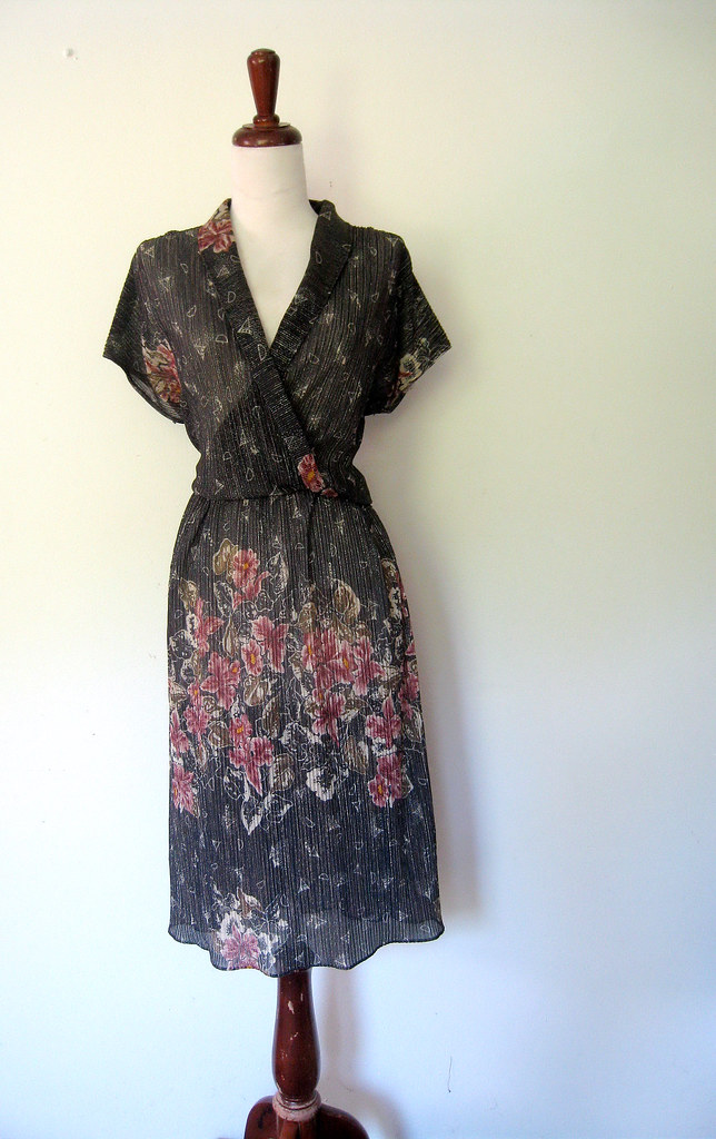 Sparkling Floral Patch Sheer Black Dress, vintage 1970s
