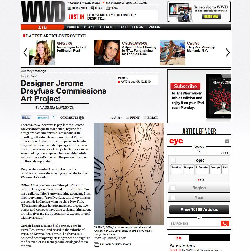 WWD - Designer Jerome Dreyfuss Commissions Art Project