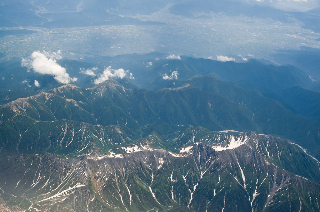 the line of North Japan Alps mountain ridge