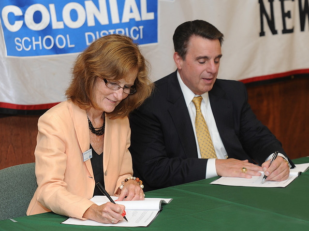 Colonial School District Superintendent Dr. Dorothy Linn signed memorandum of understanding with Wilmington University President Dr. Jack Varsalona.