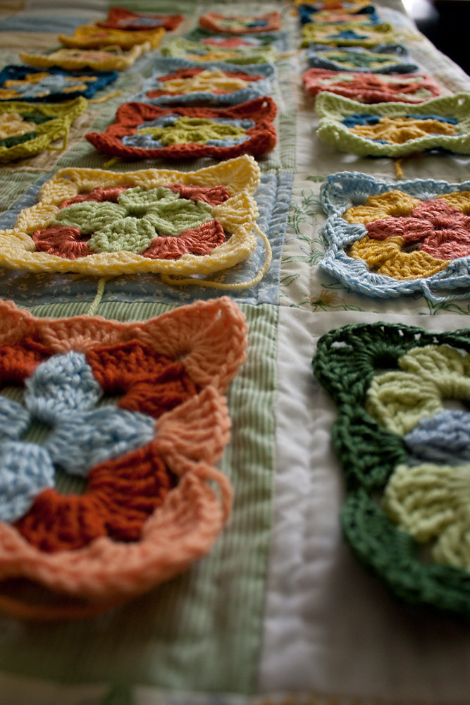 Crocheted Squares in Formation