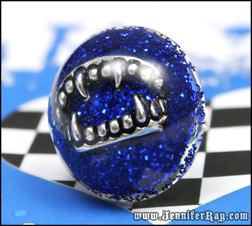 Vampire Bite Ring - Dark Blue Resin Vampire Teeth Round Ring by JenniferRay.com