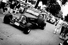 Rat Rod (Garret Voight) Tags: show street old blackandwhite hot classic car minnesota vintage fairgrounds rat rust automobile bokeh retro chrome american rod saintpaul backtothe50s