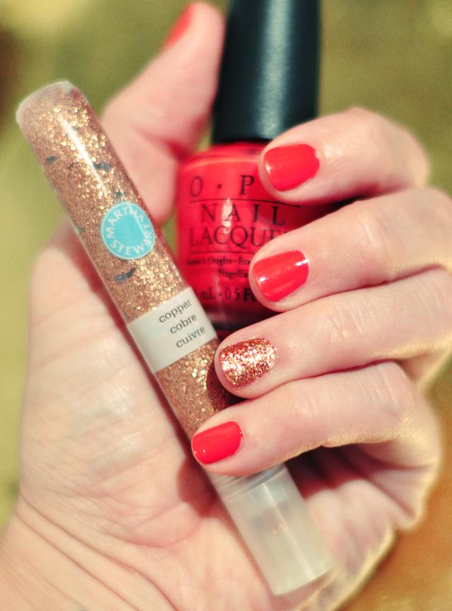 OPI Cajun Shrimp  with  copper glitter nail