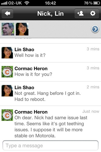 G+ Huddle Conversation On iPhone