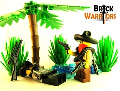 Bad time to rest... (Thrashq4g) Tags: tree cowboy lego oasis western resting sombrero minifig bandana custom cowboyhat bushes wildwest sneaky bandolier bandito sixshooter customminifigs brickwarriors buffalorifle repeaterrifle