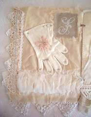 page for round robin (skblanks) Tags: embroidery antique crochet silk glove romantic childs rosette laces ruching