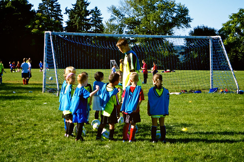 British Soccer Camp 2011:  Coach Aaron giving direction.