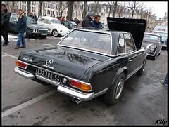 Mercedes 280 SL (kity54) Tags: auto old mars white black classic cars car mercedes automobile noir voiture panasonic sl coche nancy older blanche dmc 2010 cvg decembre 280 toile noire  2011  allemande   tz5