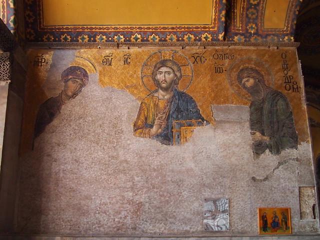 聖索菲亞教堂室內二樓迴廊的祈禱圖