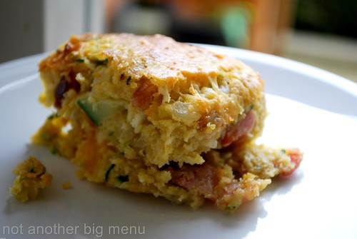 Zucchini slice with bacon and cheese