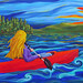 Blonde on Barnum Pond, Acrylic on canvas. Artist: Marion Bradish, Winthrop NY. Two of the artist's paintings are currently on display at the Remington Museum. www.riverflowstudio.com