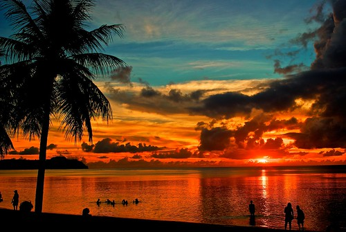 [Free Image] Nature / Landscape, Sea, Beach, People and Scenery, Sunset, Palm Tree, Guam, 201109032300
