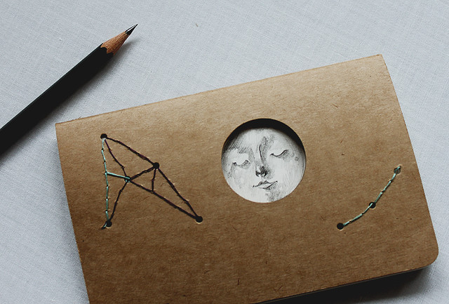 Altered Moleskine cahier cover - Full Moon