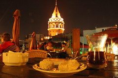 Galata view and Turkish tea. (azorlu) Tags: tower turkey tea bardak trkiye turquie trkorszg trkei stunning belli turkije turkish ay kurabiye galata turqua ince kulesi turkei turkija  turska trgi barda trkiy