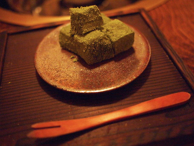 green tea dessert made with kuzu
