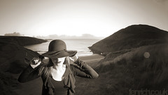 . (Paul Fenrich) Tags: woman mountain fish west eye beach girl grass hat sunglasses sepia wales clouds vintage paul evening model hill windy lips 8mm 169 cardigan mwnt strobist fenrich 92daysofsummer