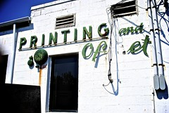 Printing & Offset (Wires In The Walls) Tags: abandoned sign metal wall vintage advertising printing vacant signage lettering script cursive offset greenwhite