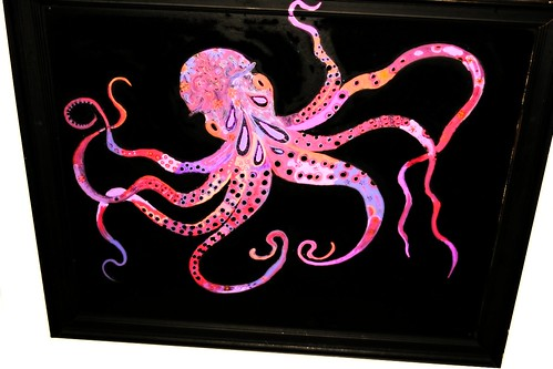 22.5 x 18 Framed Gallery Wrapped Canvas Octopus  by Rick Cheadle Art and Designs