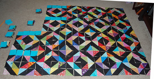 Diamond Rainbow Quilt- side view