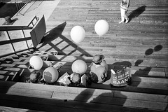 (Chris Moret) Tags: street people film kids analog 35mm balloons rotterdam shadows kinderen streetphotography rangefinder rf ballonnen leicam4p wereldhavendagen2011 instruction49